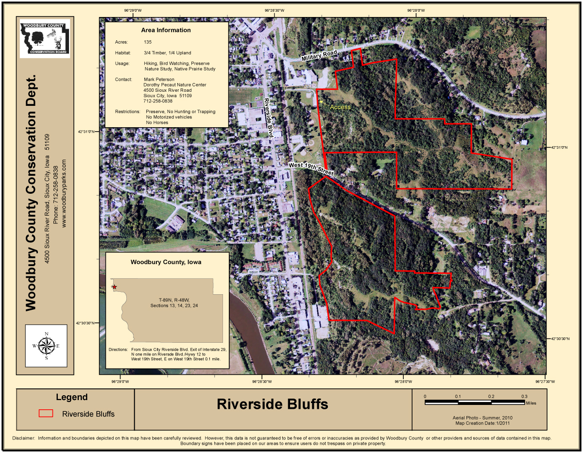 Riverside Bluffs Map   Woodbury County Conservation   RiversideBluffsWebsiteMap2011