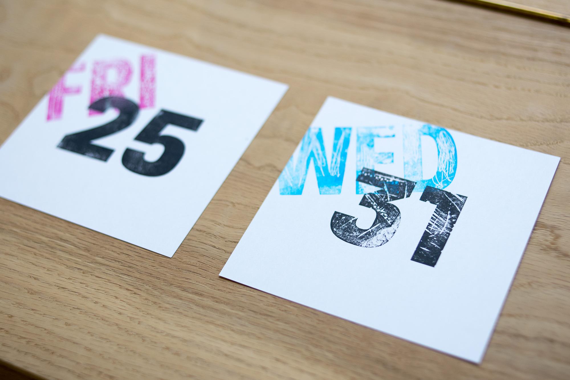 『紙で紙に刷る!?紙活字®ワークショップ』製作例
