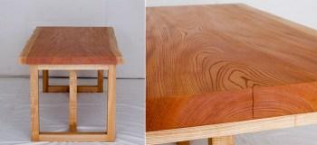 ケヤキ無垢一枚板天板、木口の細い割れ