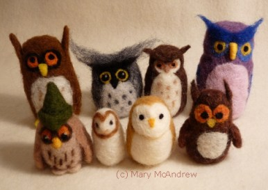 Group photo of the owls I made and brought to class.