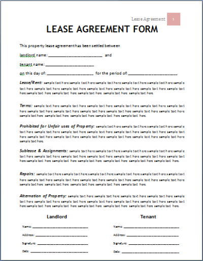 MS Word Lease Agreement Form Template | Word Document Templates