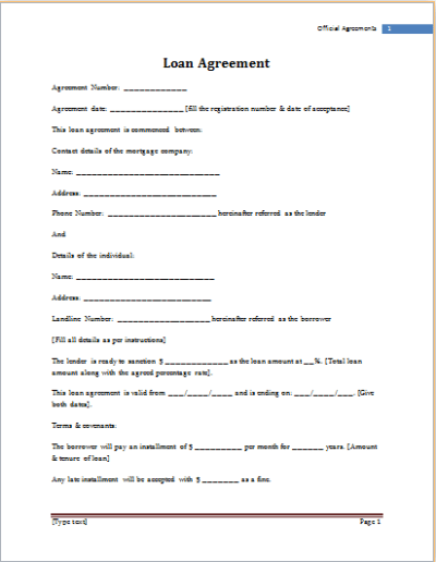 MS Word Loan Agreement Template | Word Document Templates