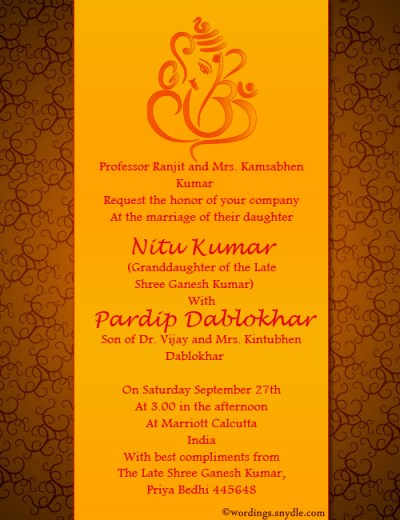 Indian Wedding Invitation Wording Samples - Wordings and ...