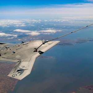The unmanned X-47B sipping Gas from a tanker