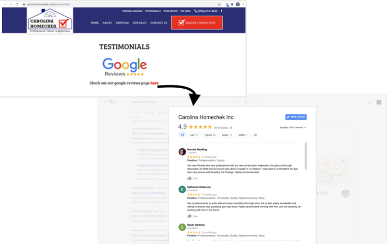 get more google reviews link to business profile from website