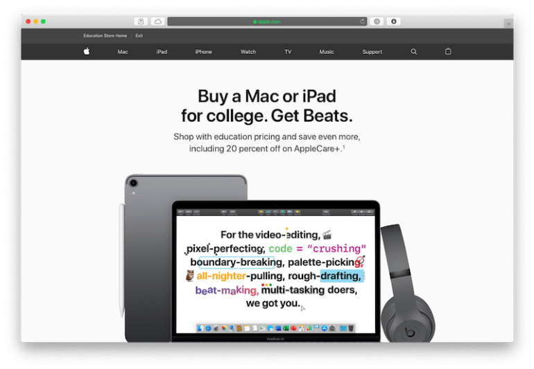 how to market to college students mac