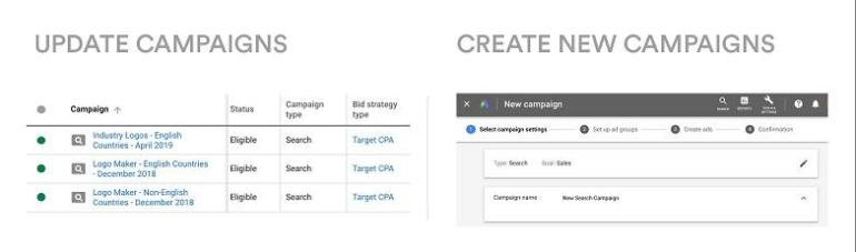 updating Google Ads campaigns vs creating new Google Ads campaigns options