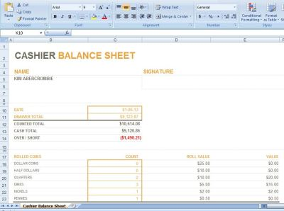 cash drawer balance sheet Images - Frompo