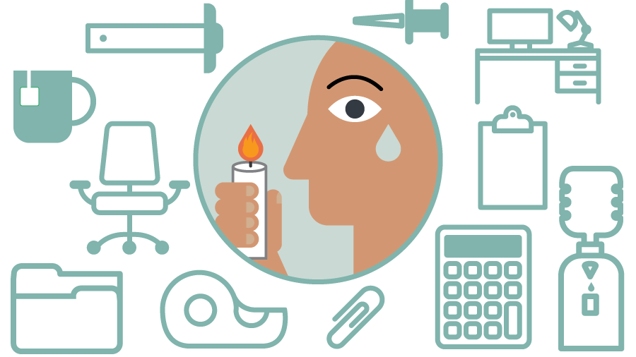 [illustration] a person holding a candle and shedding a tear, surrounded by workplace items