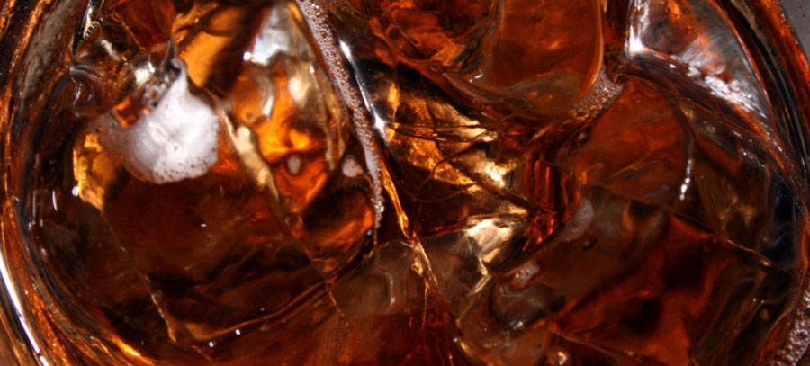 closeup of cola in a glass