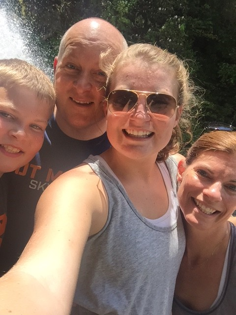 Family Selfie by Waterfall