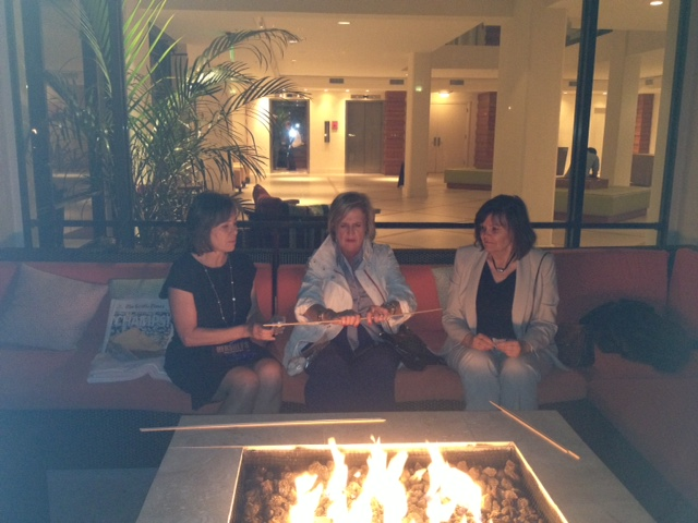 Me, and two of my EncoreTampaBay.com colleagues roasting marshmallows at a Positive Aging Conference.