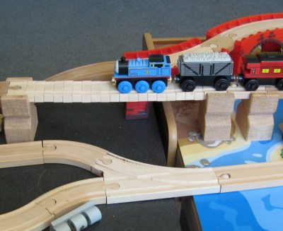 Thomas driving over the Shake Shake Bridge