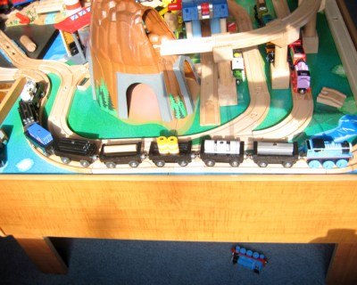 My son making good use of the flat cars
