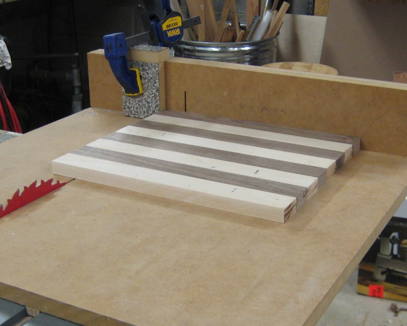Cutting equal width strips for the checkerboard