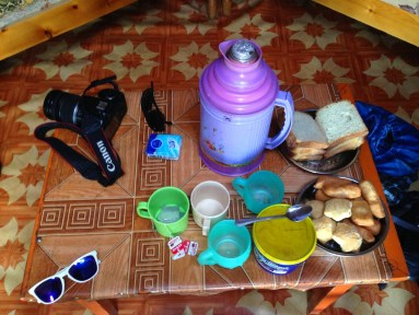 Breakfast of toast, Mongolian biscuits and milk tea!