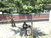 Soldiers taking a break in the shade