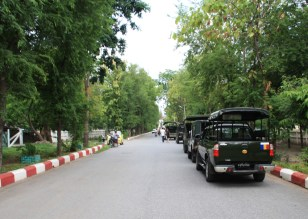 Military vehicles at some event in the park