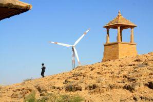 Bada Bagh Jaisalmer Wind Generator and Man