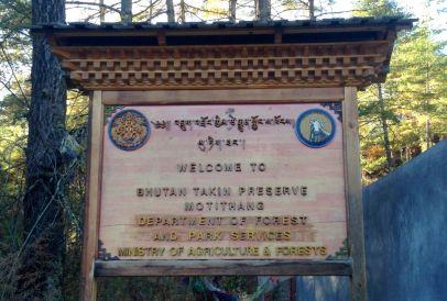 Bhutan Takin Reserve Sign