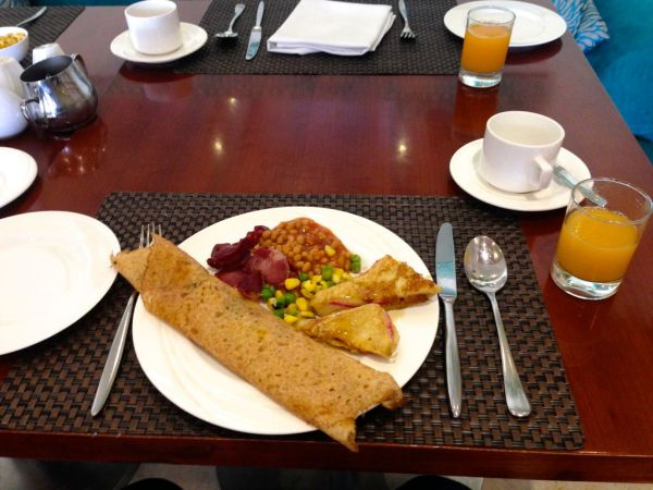 Trying an Indian breakfast