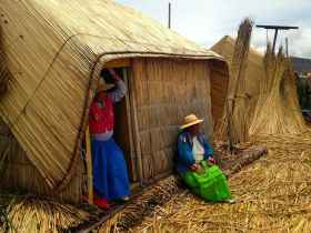 Uros Floating Islands Lady in Hut