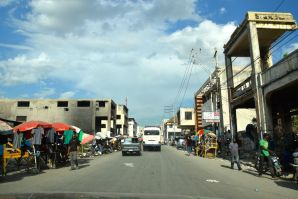 Port-au-Prince Street with hollowed buildings