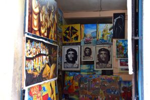There are many shops selling local artwork