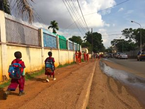 School children walking home