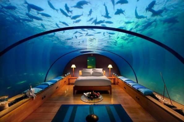 7. Conrad Hilton (Rangali, Maldives) - Sleeping with fish