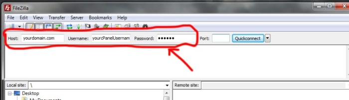 FileZilla Login Details