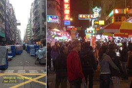 """We live and work in Mongkok near the """"Ladies Market""""--a daily avenue of tents (left: shown here in the early morning, as vendors return after the street is cleaned) where you can buy lots of HK souvenirs. You can't imagine the effort expended DAILY to construct and tear down all the stalls! The other photo shows the crowd I must walk though nightly as I return from work late."""