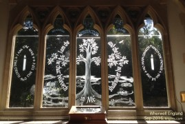 This beautiful etched-glass window was created to celebrate the second millennium after Jesus' birth (AD 2000).