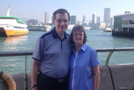 A friend snapped this for us after we got off the ferry, back in busy Hong Kong.
