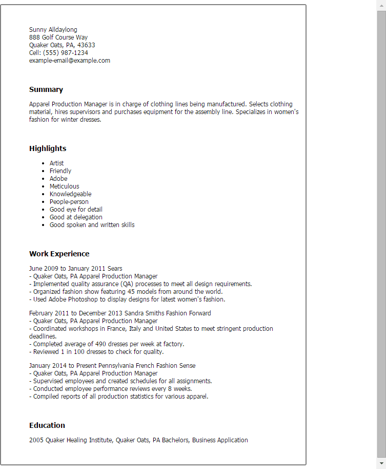 Print production manager resume examples - Resume to get hired