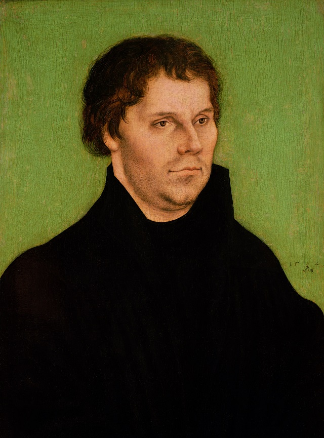 Luther  Unlike Lutheranism  Taught Double Predestination   Dave     BAG13642 Portrait of Martin Luther  1525  oil on panel  by Cranach  Lucas