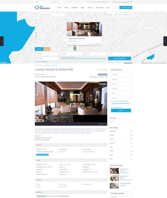 WpResidence   The most Advanced real estate theme for Wordpress Page with Header Map