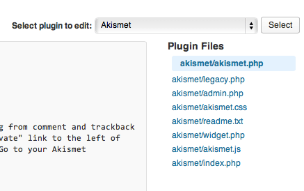 The first line in bold tells you the folder and main plugin file (in this case akismet/akismet.php)