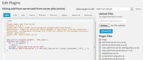 WP Editor Version Of The Plugin Editor