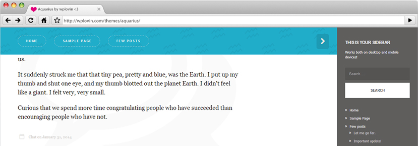 Aquarius: A Free Responsive WordPress Theme For Personal Bloggers