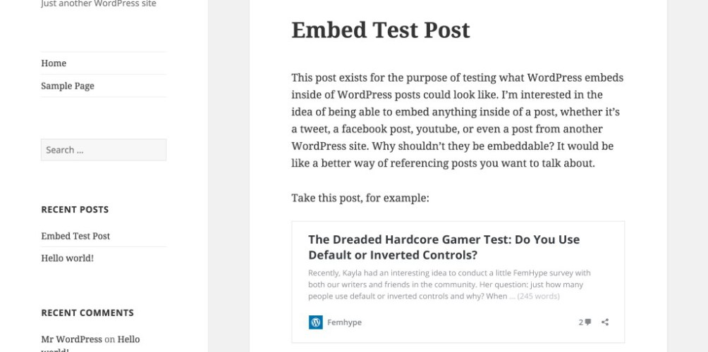 New Feature Plugin Proposed: oEmbed for WordPress Posts
