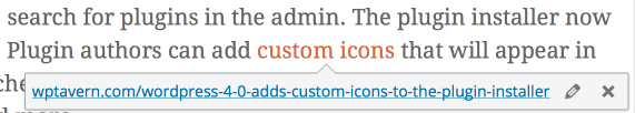 Preview Links in The Visual Editor WordPress 4.3