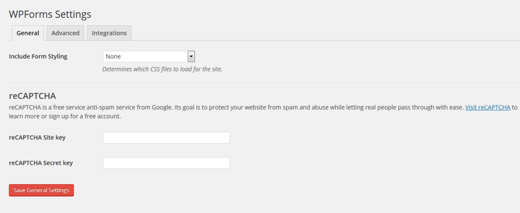 WPForms Settings Page