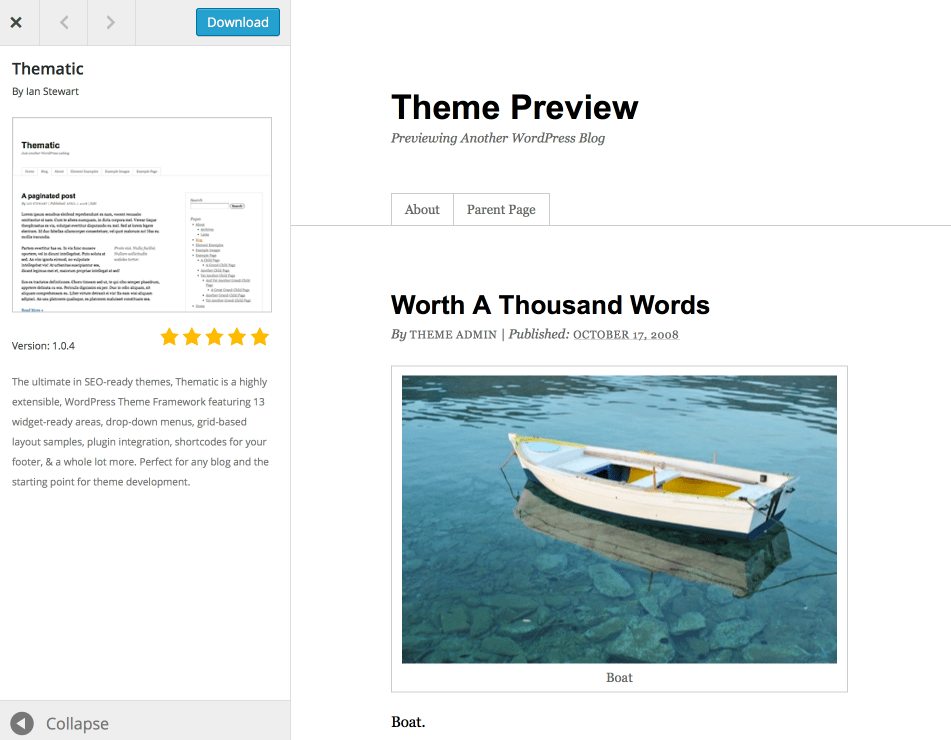 Thematic Theme Preview from WordPress.org