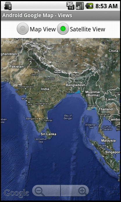 Android Google Map     Switching between Map view and Satellite view     Satellite View Google Map in Google APIs   API Level 7