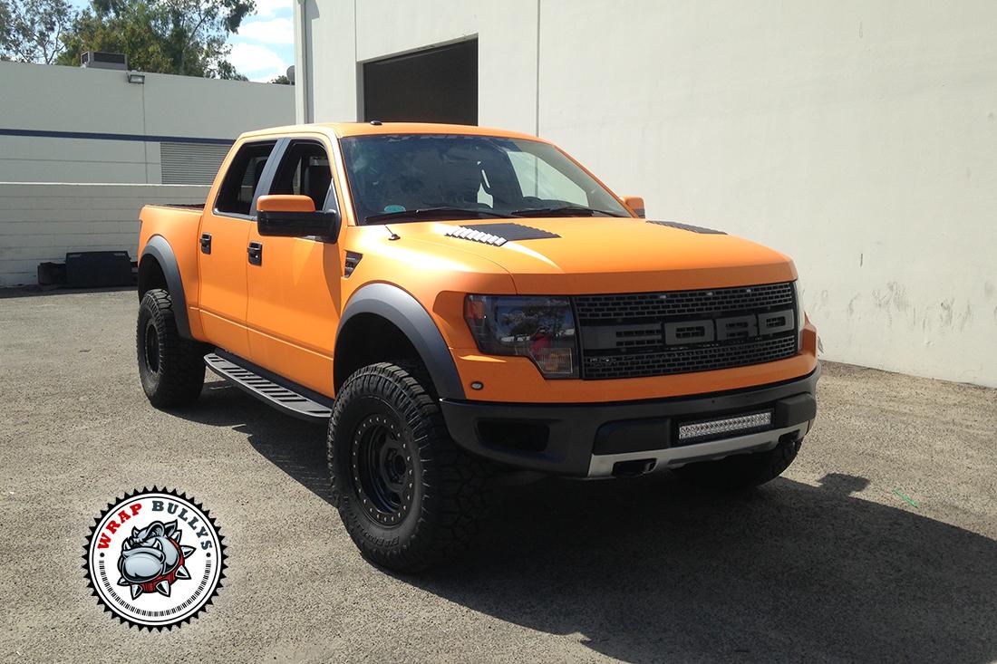 Ford Raptor Svt Wrapped In 3m Matte Orange Truck Wrap