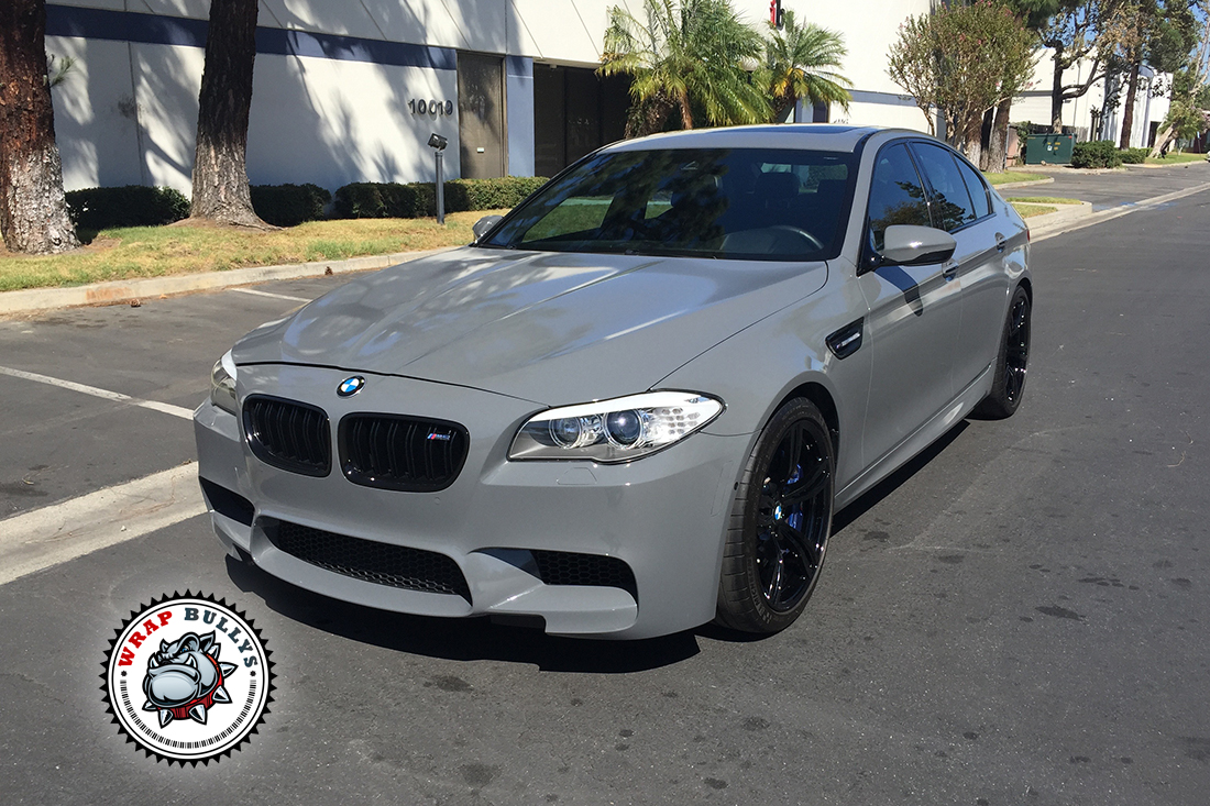 Matte Black Bmw >> BMW M5 Wrapped in Gloss Battleship Gray Car Wrap - Wrap Bullys