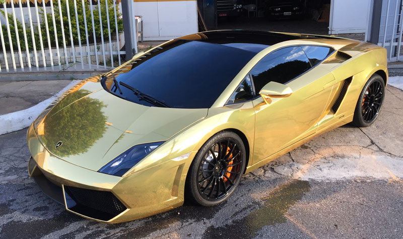 Lamborghini Gallardo Bicolor Gold Chrome Wrap Wrapfolio