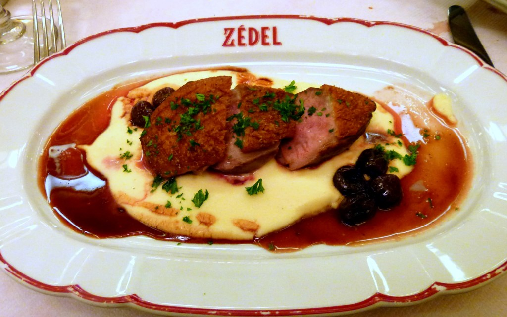 Roast duck, cherries, mousseline mash at Brasserie Zedel