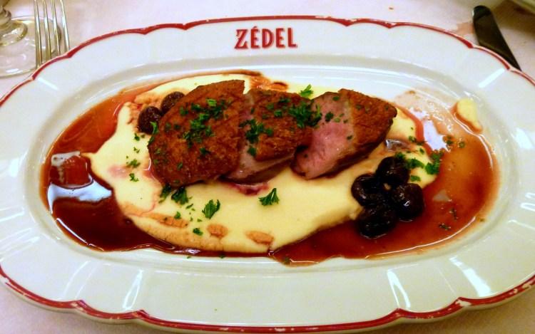 Roast duck, cherries, mousseline mash at Brasserie Zedel